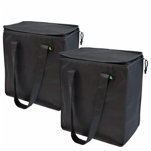 """12.5x7.75x14"""" 2 Insulated Reusable Grocery Bags, Thermal Shopping Tote w/ Zippered Top Perspective: front"""