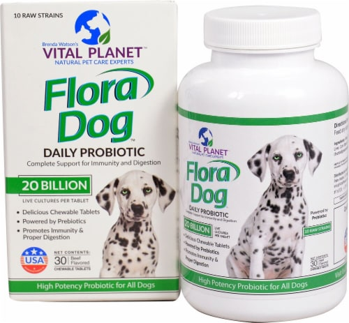 Vital Planet  Flora Dog Daily Beef Flavored Probiotic Tablets Perspective: front