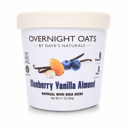Dave's Gourmet Overnight Oats Blueberry Vanilla Almond Oatmeal with Chia Seeds Perspective: front
