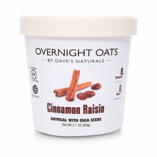 Dave's Gourmet Overnight Oats Cinnamon Raisin Oatmeal with Chia Seeds Perspective: front