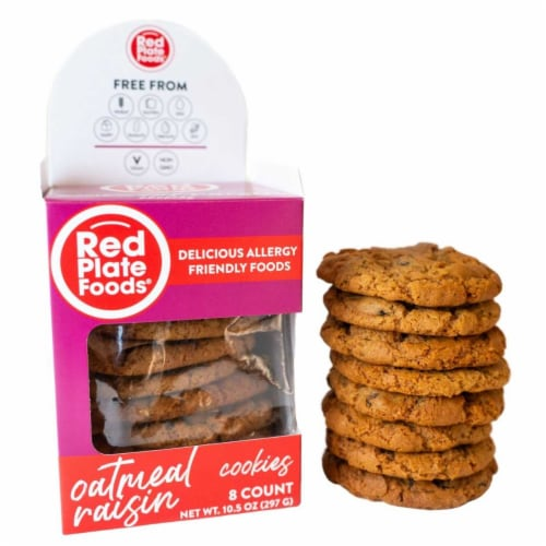 Red Plate Oatmeal Cookies Perspective: front