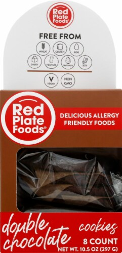 Red Plate Double Chocolate Cookies Perspective: front