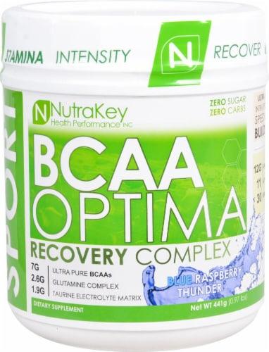 NutraKey  BCAA Optima   Blue Raspberry Thunder Perspective: front