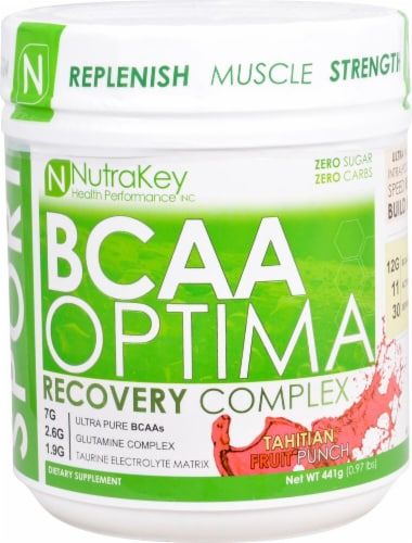 NutraKey  BCAA Optima   Tahitian Fruit Punch Perspective: front