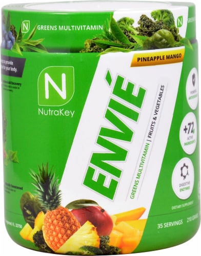 NutraKey  Envie Greens Multivitamin   Pineapple Mango Perspective: front