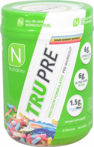 NutraKey TRU Pre Sour Gummy Worms Precision Formulated Pre-Workout Perspective: front