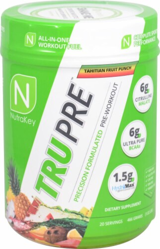 NutraKey  TRU Pre™ Precision Formulated Pre-Workout   Tahitian Fruit Punch Perspective: front