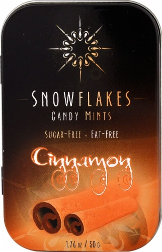 Snowflakes Sugar Free Cinnamon Candy Mints Perspective: front