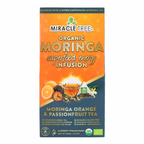 Miracle Tree Organic Moringa Superfood Energy Infusion Moringa Orange and Passionfruit Tea Bags Perspective: front