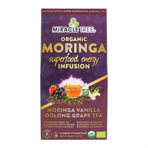 Miracle Tree Organic Moringa Superfood Energy Infusion Moringa Vanilla Oolong Grape Tea Bags Perspective: front