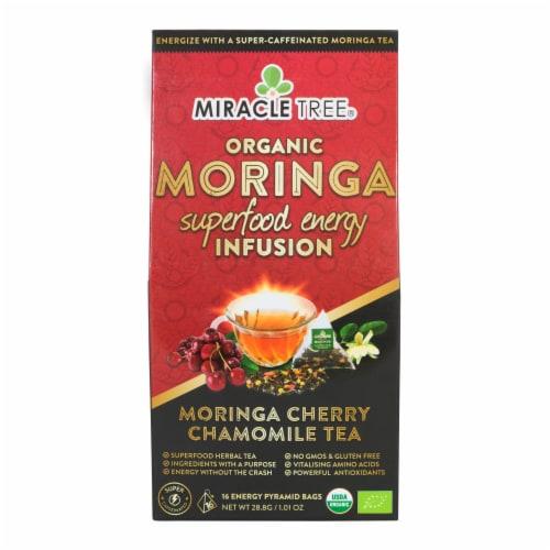 Miracle Tree Organic Moringa Superfood Energy Infusion Moringa Cherry Chamomile Tea Bags Perspective: front