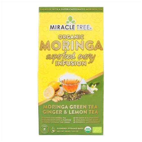 Miracle Tree Organic Moringa Superfood Energy Infusion Morigna Green Tea Ginger and Lemon Tea Bags Perspective: front