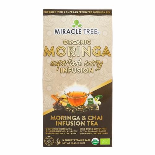 Mircle Tree Organic Moringa Superfood Energy Infusion Moringa and Chai Infusion Tea Bags Perspective: front