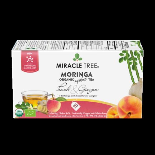 Organic Moringa Superfood Tea Peach & Ginger -- 25 Tea Bags Perspective: front