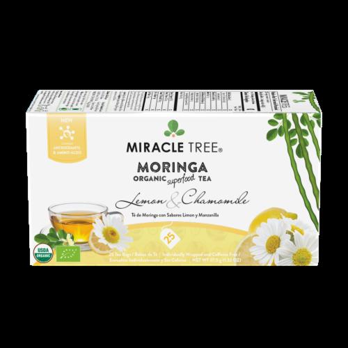 Organic Moringa Superfood Tea Lemon & Chamomile -- 25 Tea Bags Perspective: front