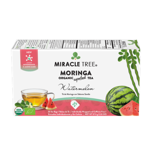 Organic Moringa Superfood Tea Watermelon -- 25 Tea Bags Perspective: front