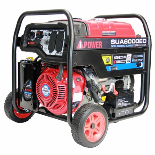 A-iPower SUA6000ED 6000W Portable Gas & Propane Powered Generator w/ 4 Gal Tank Perspective: front