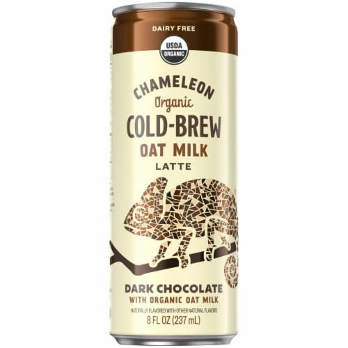 Chameleon Organic Dark Chocolate Flavored Oat Milk Latte Cold Brew Coffee Perspective: front