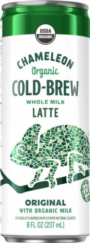 Chameleon Cold-Brew Organic Whole Milk Canned Latte Coffee Perspective: front