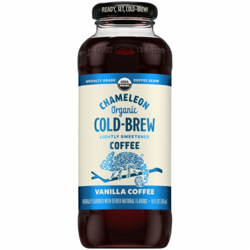 Chameleon Organic Cold Brew Lightly Sweetened Vanilla Coffee Perspective: front