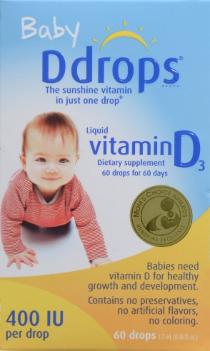 Baby Ddrops Liquid Vitamin D3 400 IU Perspective: front