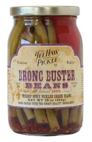 YeeHaw Pickle Co. Bronc Buster Beans Mildly Spicy Pickled Green Beans Perspective: front