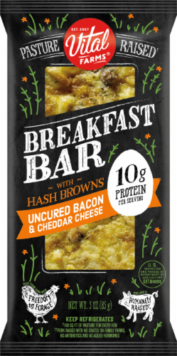 Vital Farms Bacon Cheddar Breakfast Bar Perspective: front