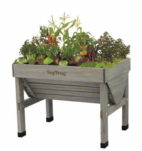 VegTrug Small Raised Bed Planter - Gray Wash FSC 100% Perspective: front