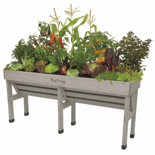 VegTrug Wallhugger Medium Raised Bed Planter - Gray Wash 100% FSC Perspective: front