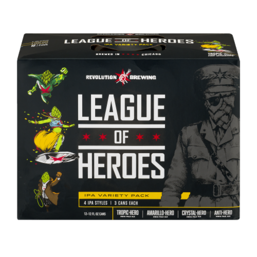 Revolution Brewing League of Heroes IPA Variety Pack Beer Perspective: front