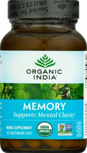 Organic India Memory Herbal Supplement Caps Perspective: front