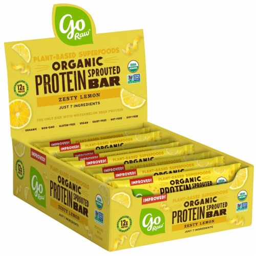 Go Raw  Organic Sprouted Grow Plant Protein Bar   Zest Lemon Perspective: front