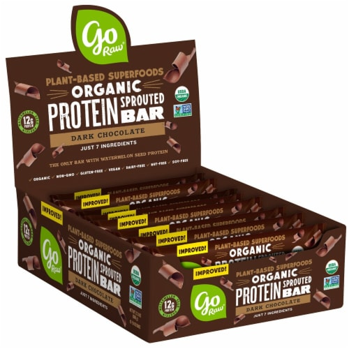 Go Raw  Organic Sprouted Grow Plant Protein Bar   Dark Chocolate Perspective: front