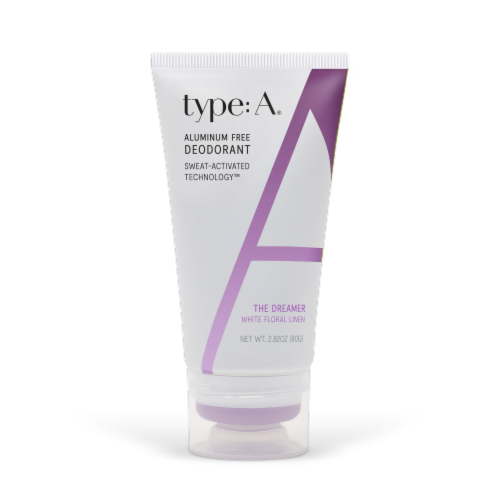 Type:A® The Dreamer White Floral Linen Aluminum Free Deodorant Cream Perspective: front