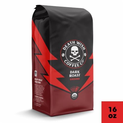 Death Wish Coffee Dark Roast Ground Coffee Perspective: front