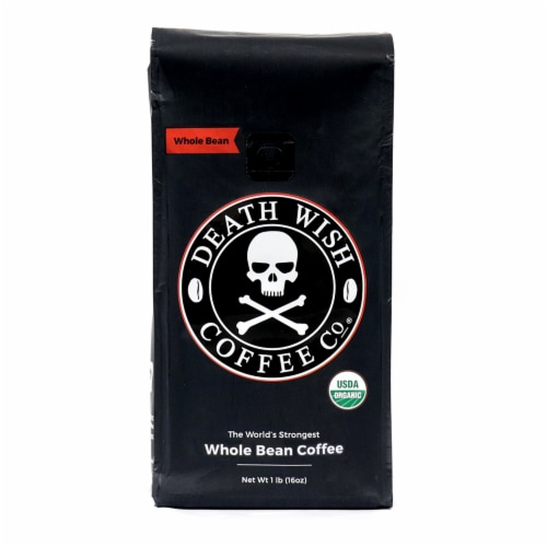 Death Wish Coffee Organic Dark Roast Whole Bean Coffee Perspective: front