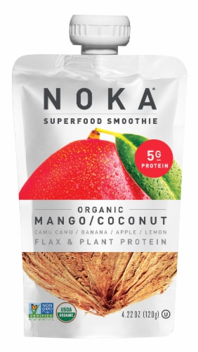 NOKA Superfood Smoothie Organic Mango Coconut Smoothie Pouch Perspective: front