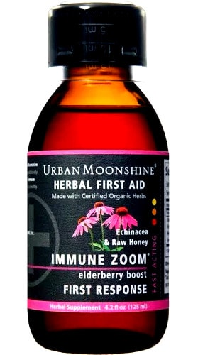 Urban Moonshine Immune Zoom Herbal First Aid Supplement with Cup Perspective: front