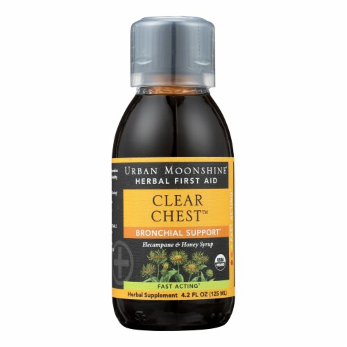 Urban Moonshine Clear Chest Herbal Syrup With Cup Perspective: front