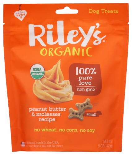 Riley's Organic Peanut Butter & Molasses Small Dog Treats Perspective: front