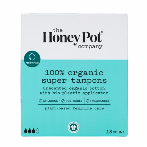 The Honey Pot Super Organic Bio-Plastic Applicator Tampons Perspective: front