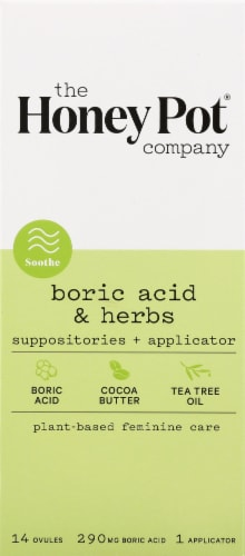The Honey Pot 7 Day Boric Acid & Herbs Suppositories + Applicator Perspective: front