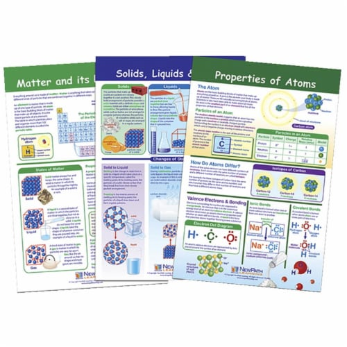 NewPath Learning 1567143 Bulletin Board Chart - Matter & Interactions - Set of 3 - Grade 5-8 Perspective: front