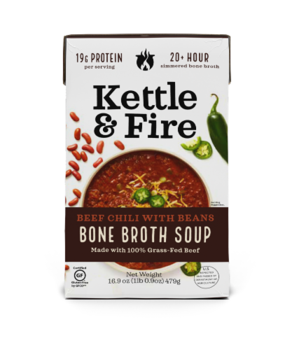 Kettle & Fire Beef Chili With Beans Bone Broth Soup Perspective: front