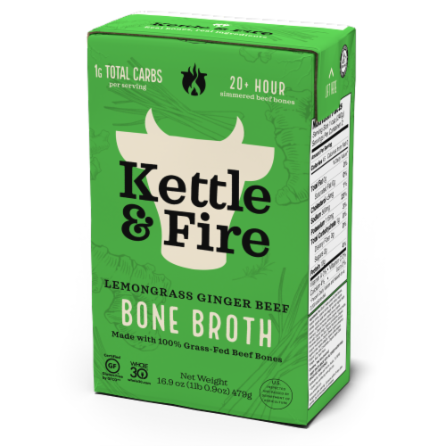 Kettle & Fire Lemongrass Ginger Beef Bone Broth Perspective: front