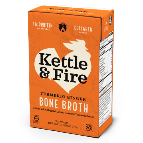 Kettle & Fire Turmeric Ginger Chicken Bone Broth Perspective: front