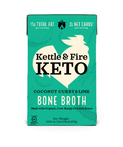 Kettle & Fire Keto Coconut Curry & Lime Bone Broth Perspective: front