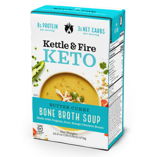 Kettle & Fire Butter Curry Soup with Chicken Bone Broth Perspective: front