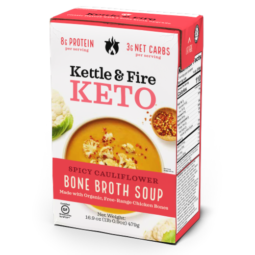 Kettle & Fire Spicy Cauliflower Soup with Chicken Bone Broth Perspective: front