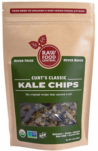 Raw Food Central  Organic Kale Chips Gluten Free   Curt's Classic Perspective: front